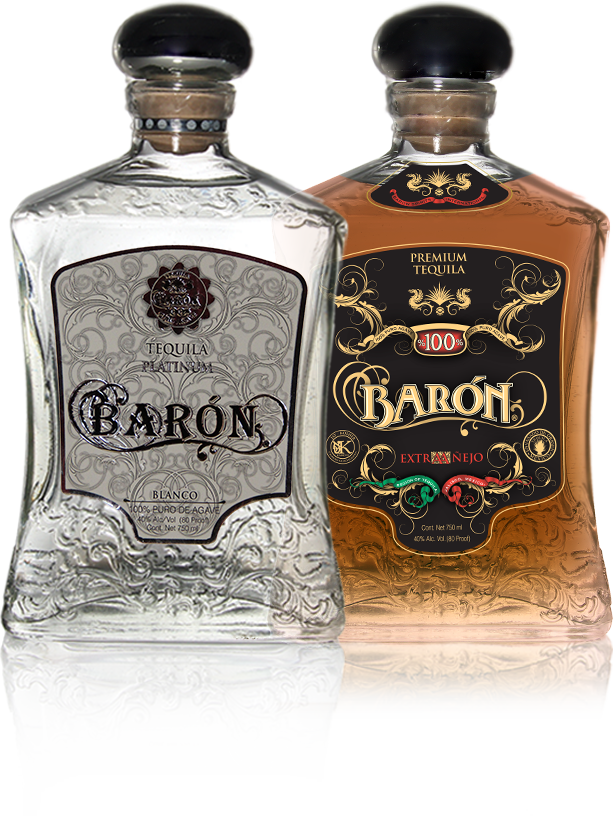 Baron Tequila Bottles - Platinum Tequila and Etra Anejo Tequila